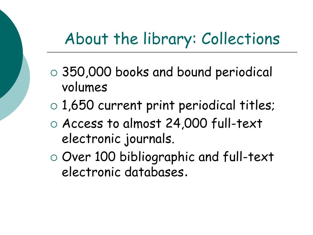 About the library: Collections