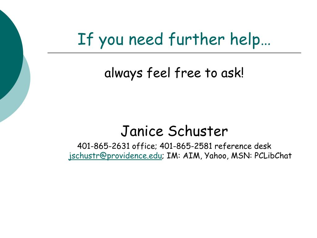 If you need further help…