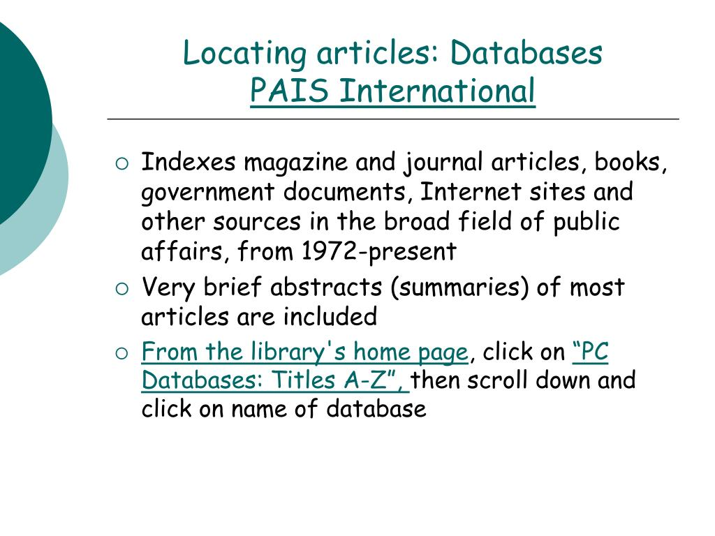 Locating articles: Databases