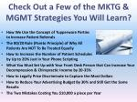 check out a few of the mktg mgmt strategies you will learn