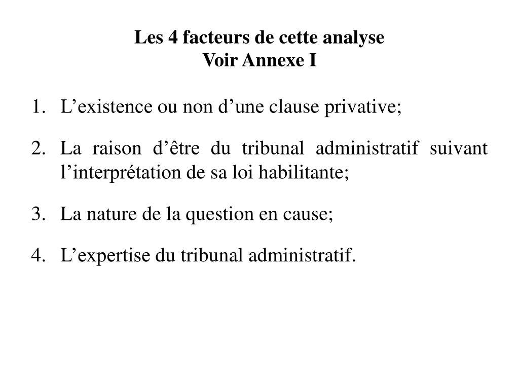 Les 4 facteurs de cette analyse
