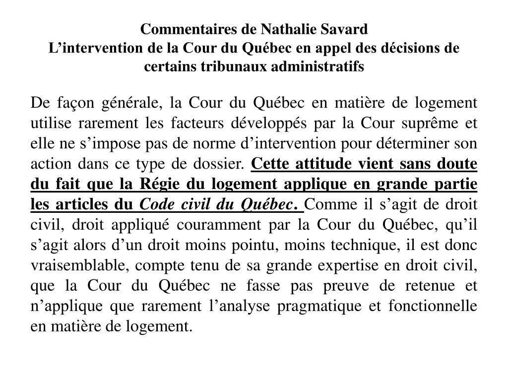 Commentaires de Nathalie Savard