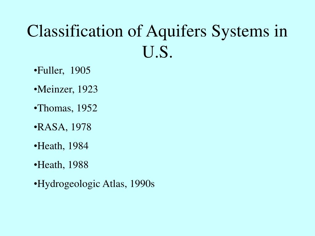 classification of aquifers systems in u s l.