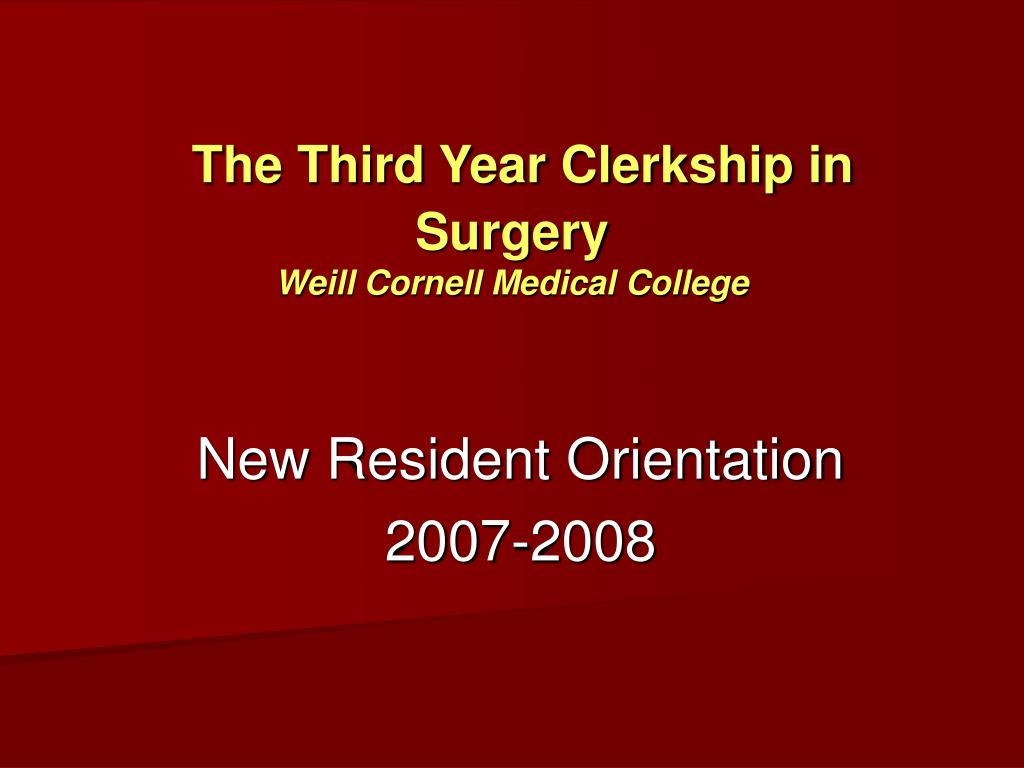 The Third Year Clerkship in Surgery