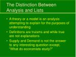 the distinction between analysis and lists