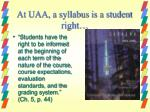 at uaa a syllabus is a student right