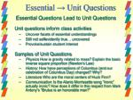 essential unit questions