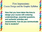 first impressions course design and the graphic syllabus