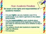 note academic freedom