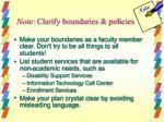 note clarify boundaries policies