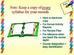 note keep a copy of every syllabus for your records