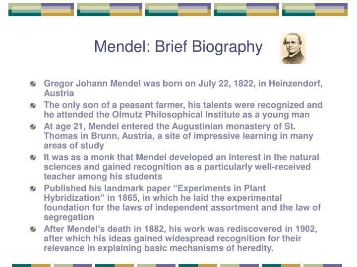 Mendel brief biography