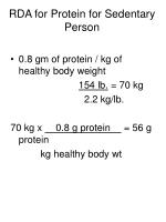 rda for protein for sedentary person