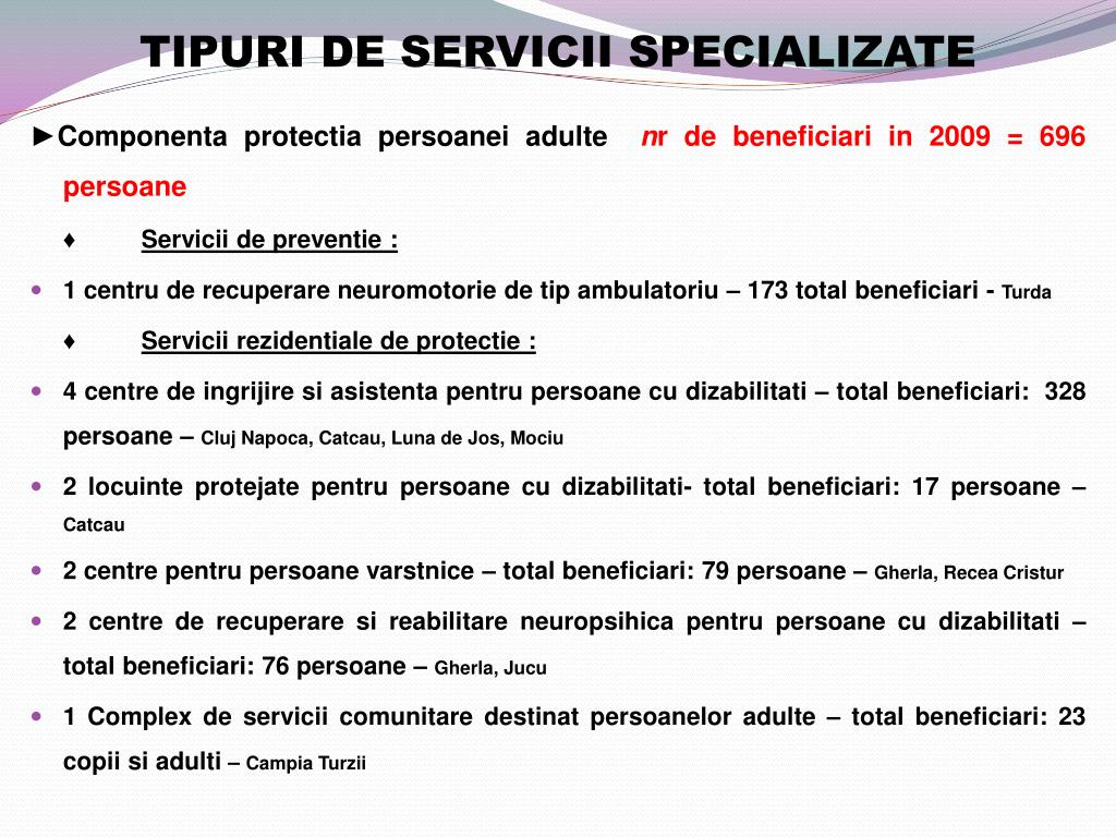 TIPURI DE SERVICII SPECIALIZATE