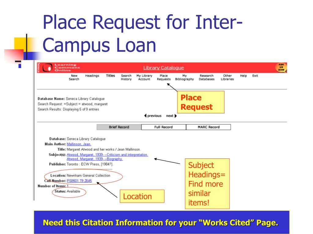 Place Request for Inter-Campus Loan