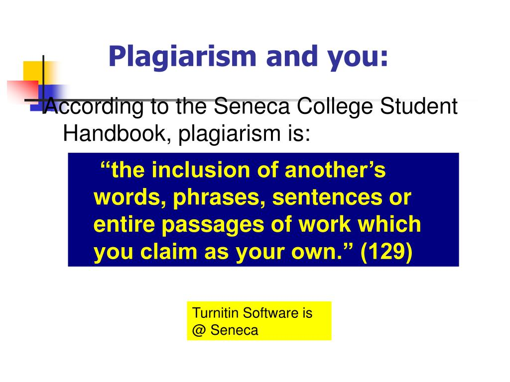 Plagiarism and you: