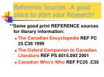 reference sources a good place to start your research