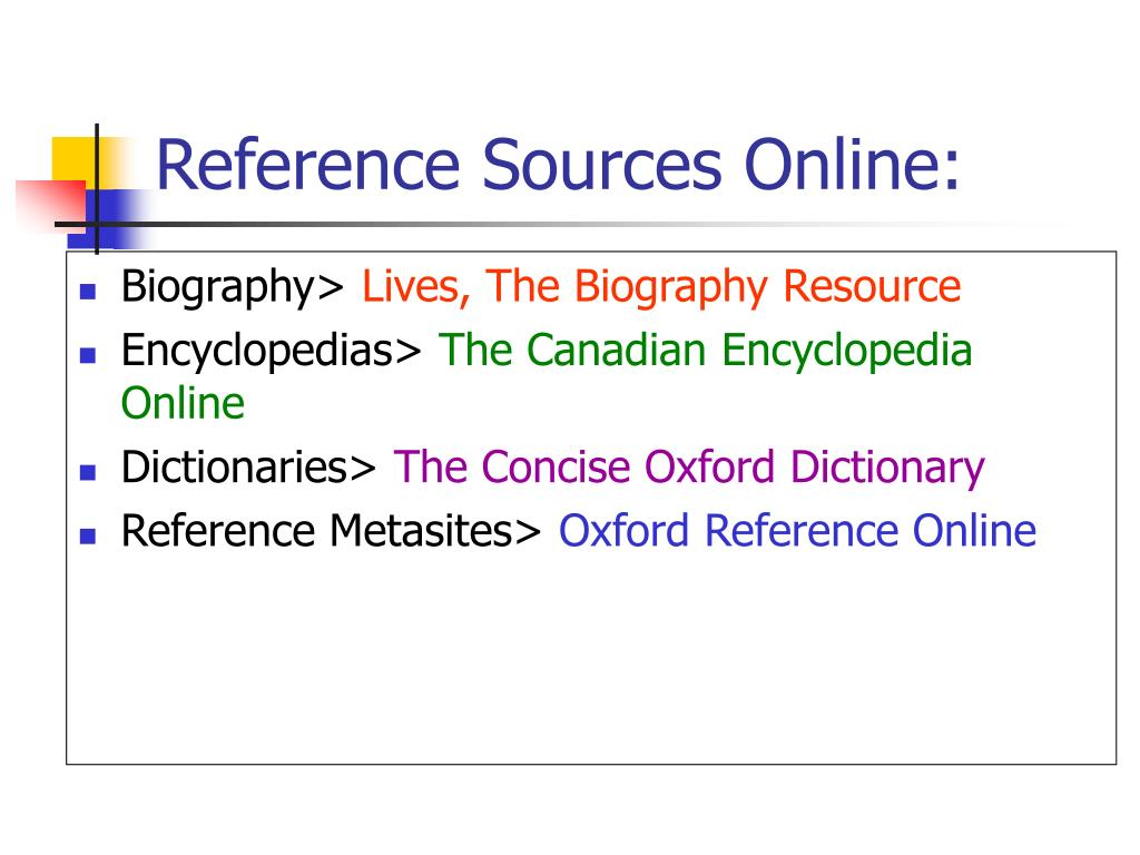 Reference Sources Online: