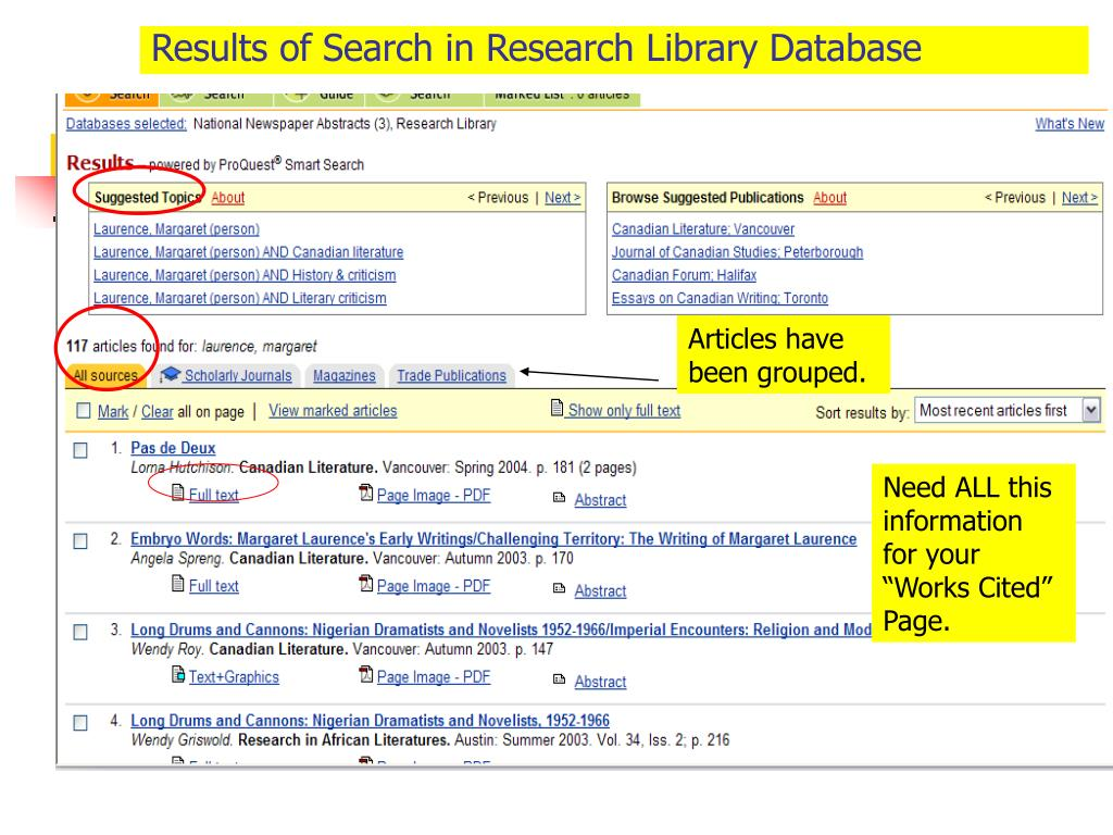 Results of Search in Research Library Database