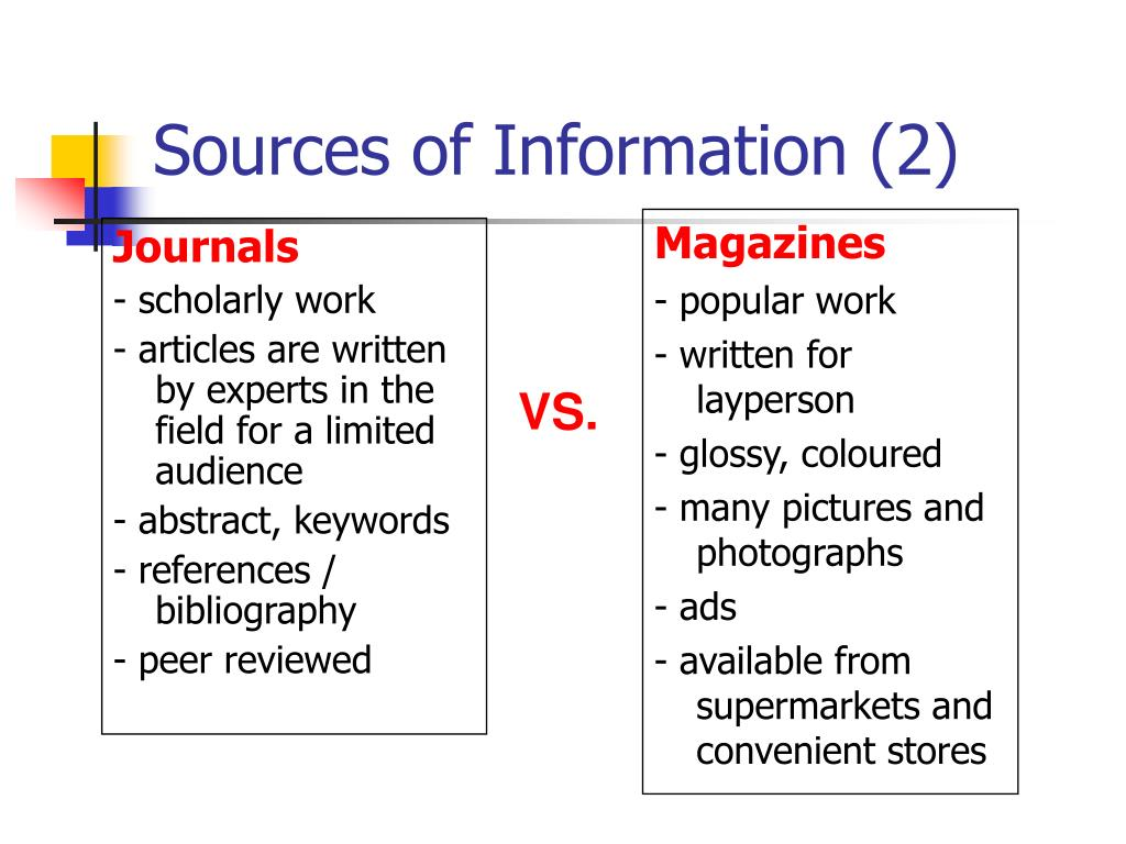 Sources of Information (2)