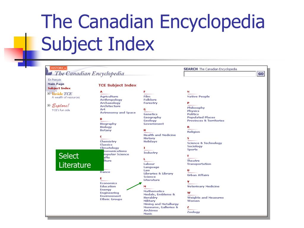 The Canadian Encyclopedia Subject Index