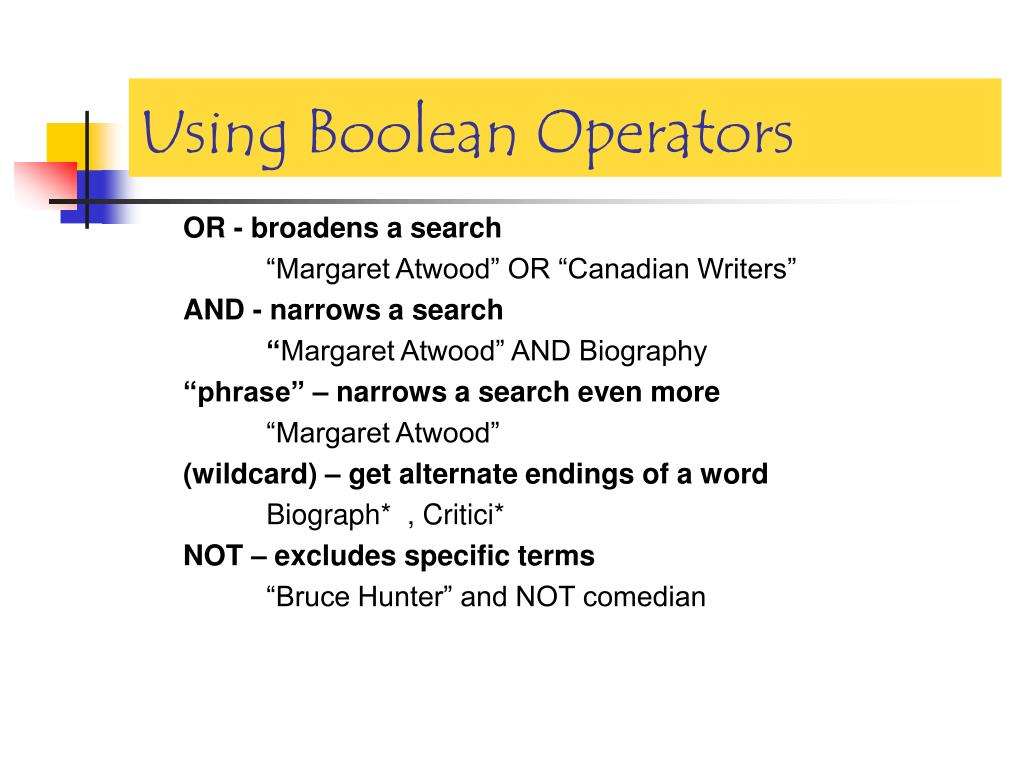 Using Boolean Operators