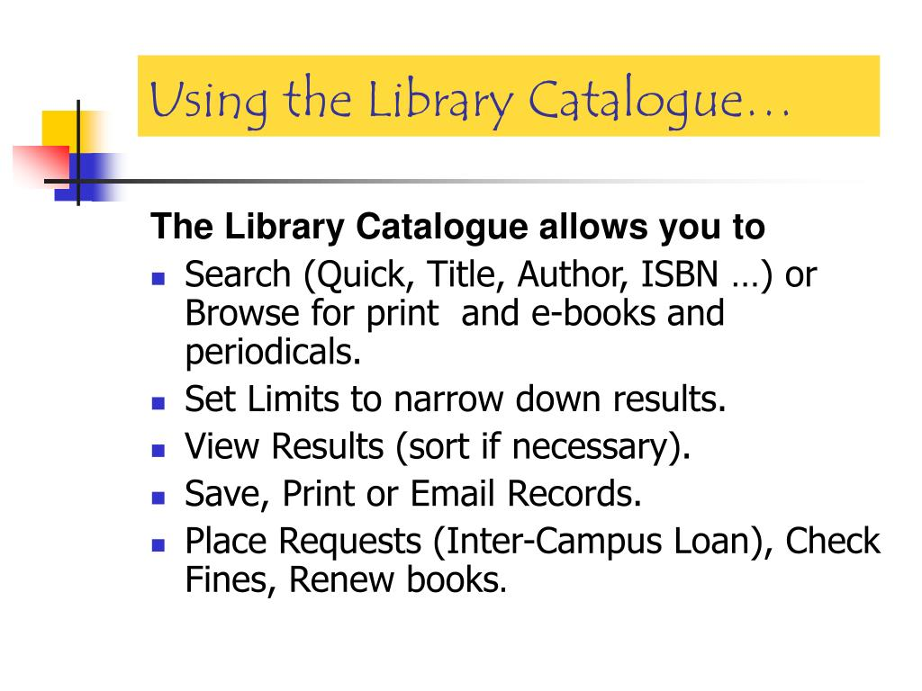 Using the Library Catalogue…