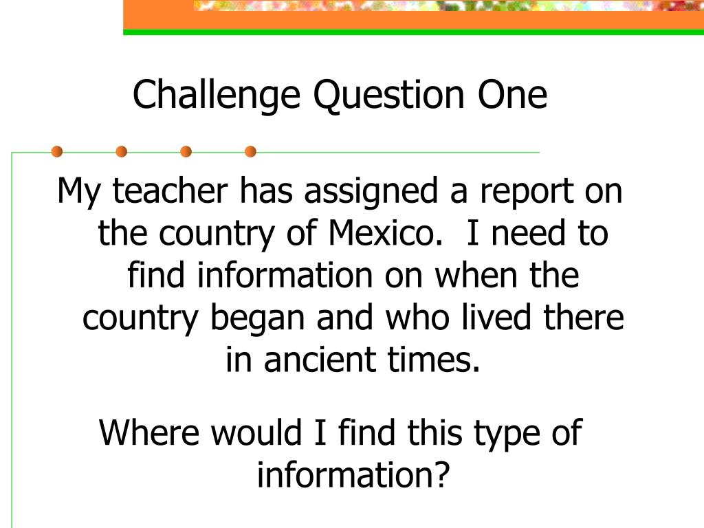 Challenge Question One