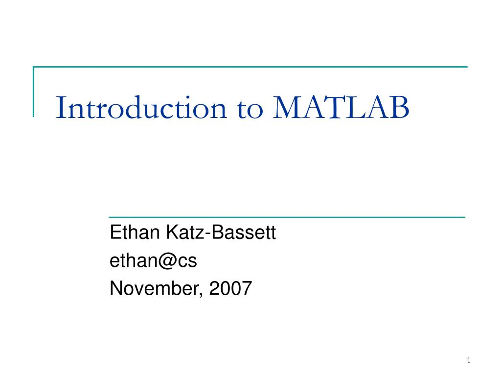introduction to matlab l.