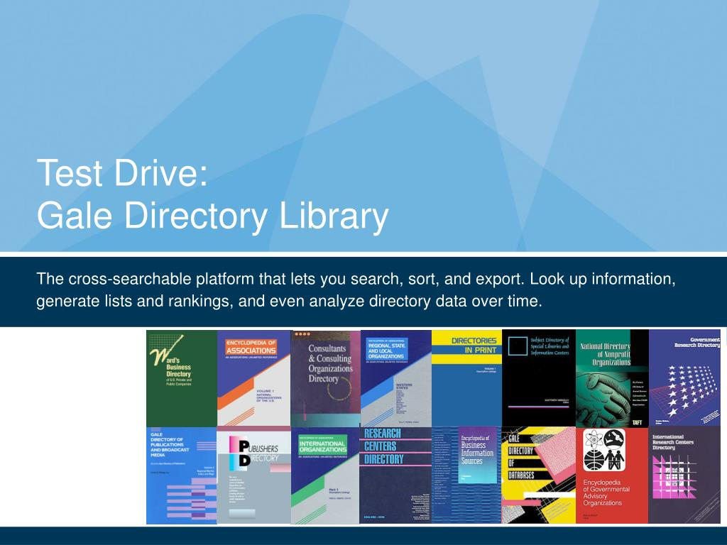 test drive gale directory library l.