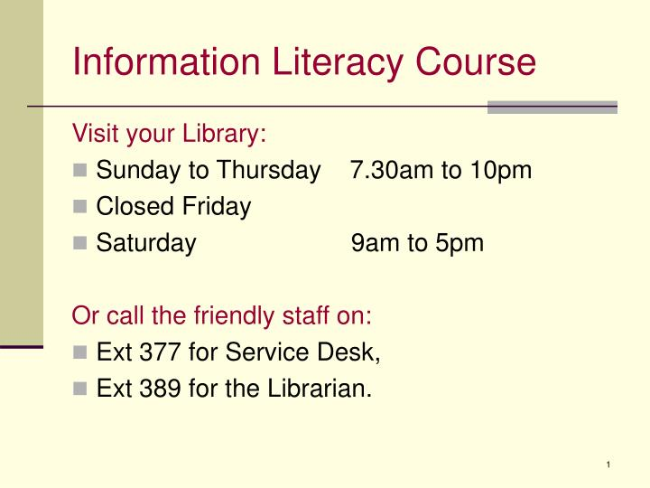 information literacy course n.