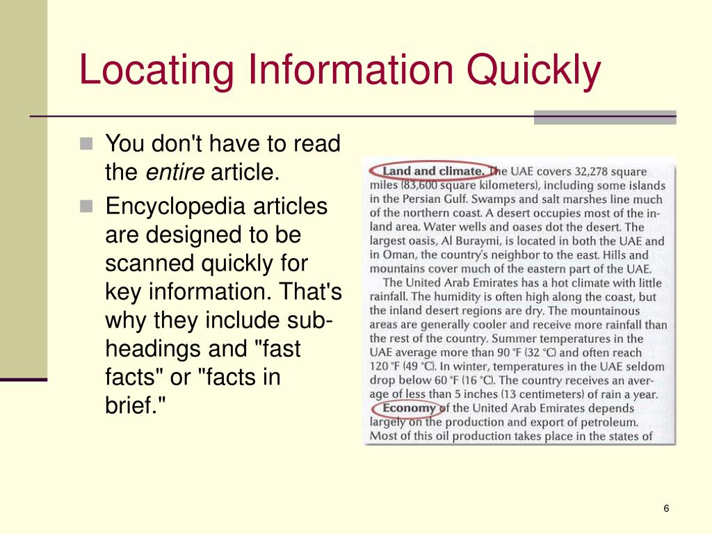Locating Information Quickly