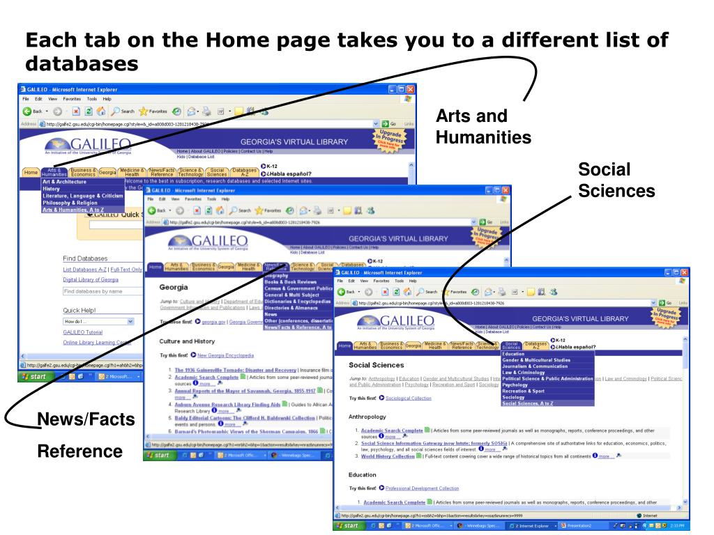 Each tab on the Home page takes you to a different list of databases