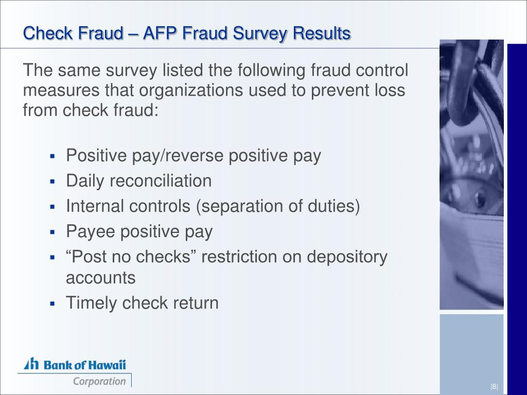 Check Fraud – AFP Fraud Survey Results