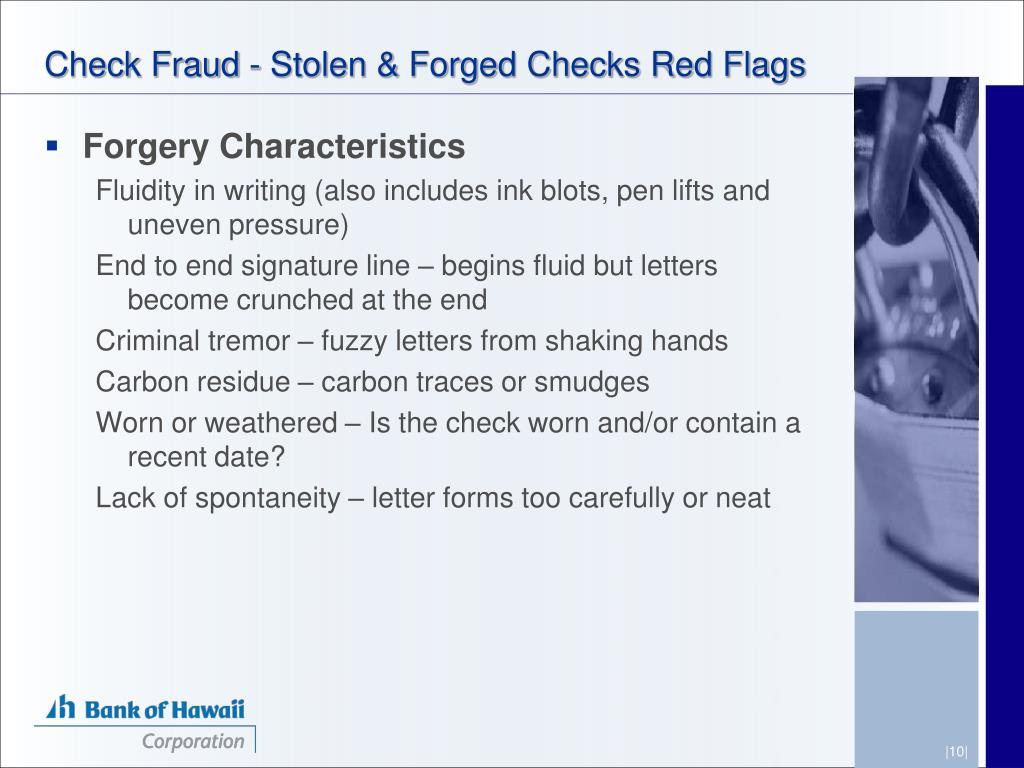 Check Fraud - Stolen & Forged Checks Red Flags