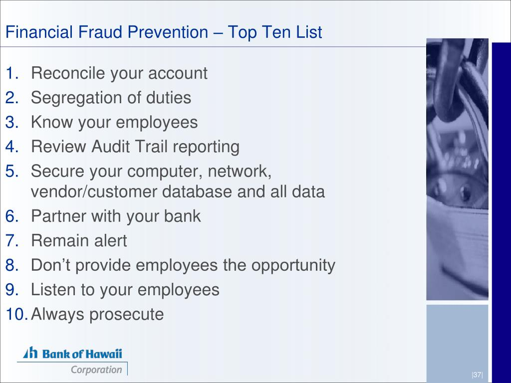 Financial Fraud Prevention – Top Ten List