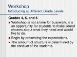 workshop introducing at different grade levels25