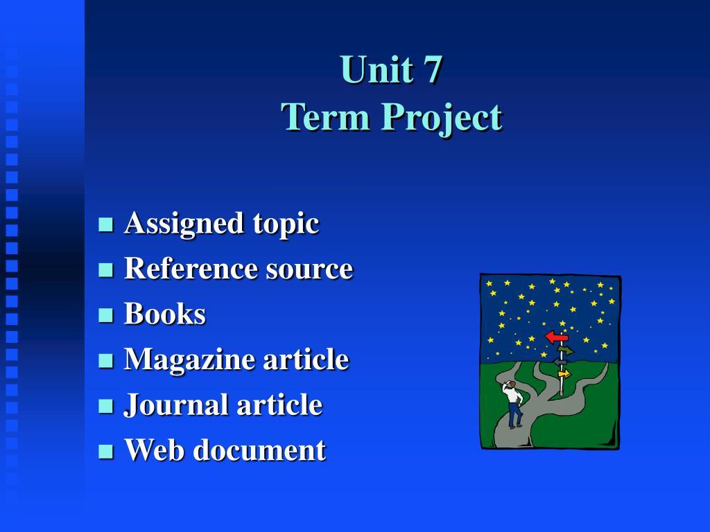unit 7 term project l.