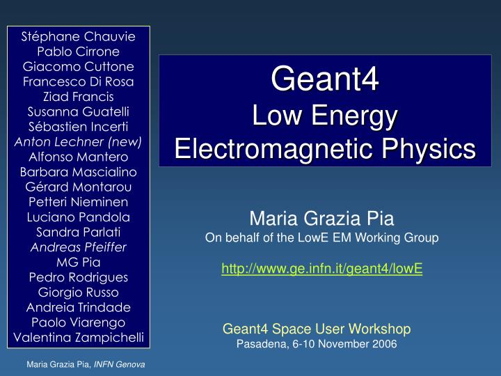 geant4 low energy electromagnetic physics n.