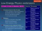low energy physics extensions