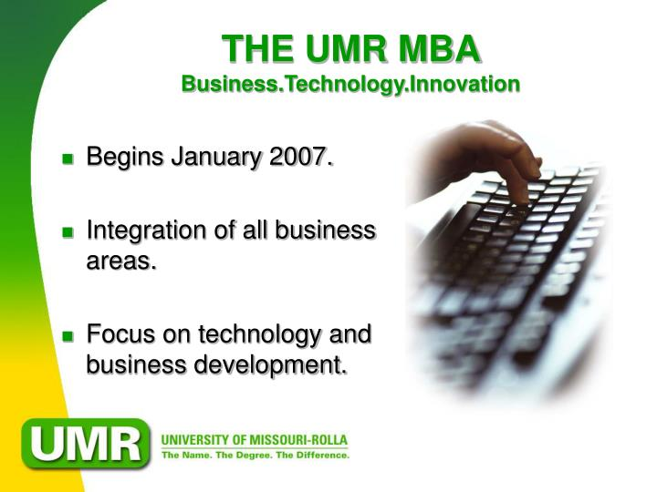 The umr mba business technology innovation