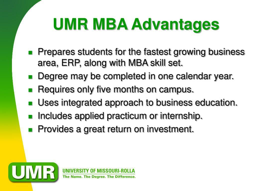 UMR MBA Advantages