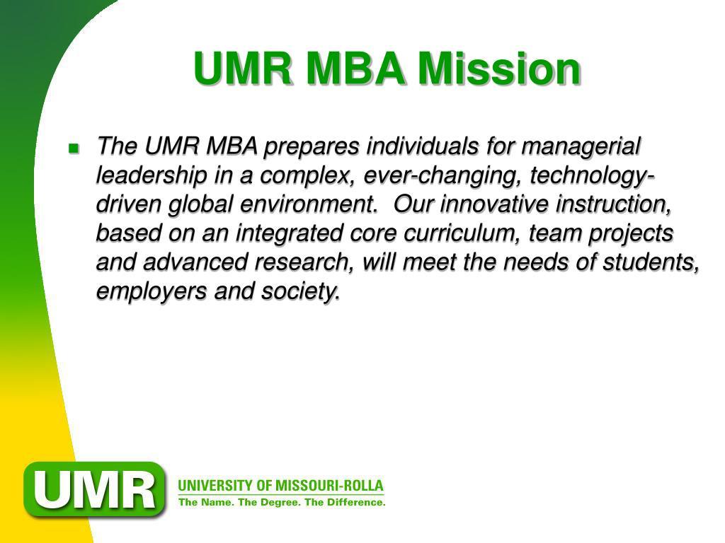 UMR MBA Mission