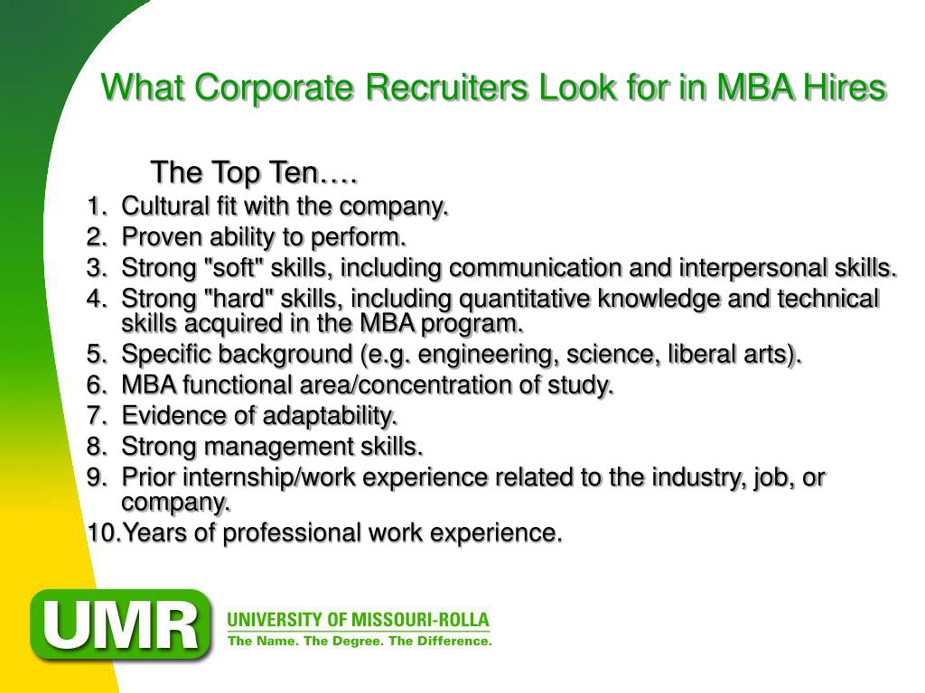 What Corporate Recruiters Look for in MBA Hires