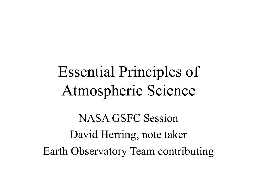 essential principles of atmospheric science l.