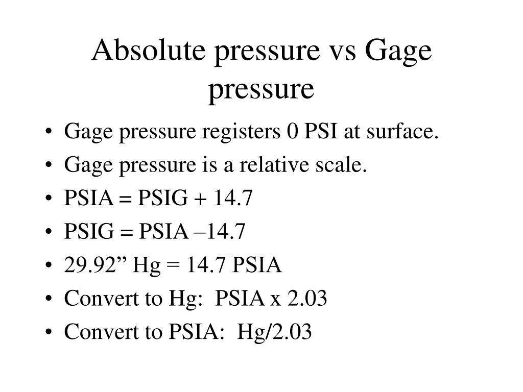 Absolute pressure vs Gage pressure