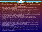 selected resources in the development and implementation of grant program