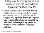 5 10 years for immigrant stds to catch up with ns in academic language abilities calp