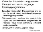 canadian immersion programmes the most successful language learning programmes
