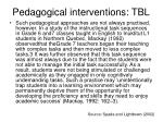 pedagogical interventions tbl